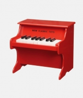 Pian din lemn, New Classic Toys, rosu - ElcoKids