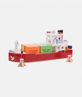 Vas salupa din lemn, New Classic Toys, cu 4 containere - ElcoKids