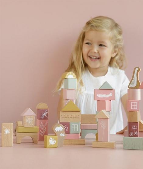Cuburi de constructie, Little Dutch, din lemn, roz