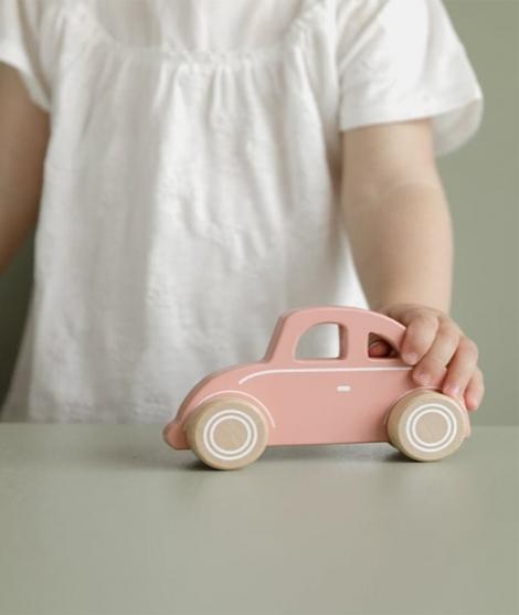 Masinuta clasica, Little Dutch, din lemn, roz, 12 luni+
