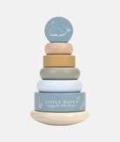 Jucarie de stivuit, Little Dutch, Ocean Blue, din lemn - ElcoKids