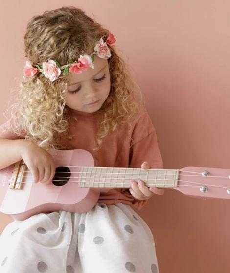 Chitara din lemn, Little Dutch, 4 corzi, roz