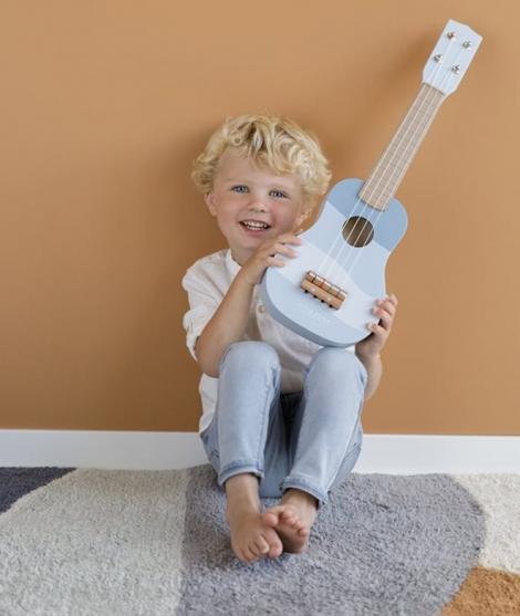 Chitara din lemn, Little Dutch, 4 corzi, albastra