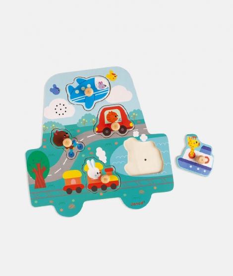 Puzzle muzical, Janod, micutele masini, 18 luni+