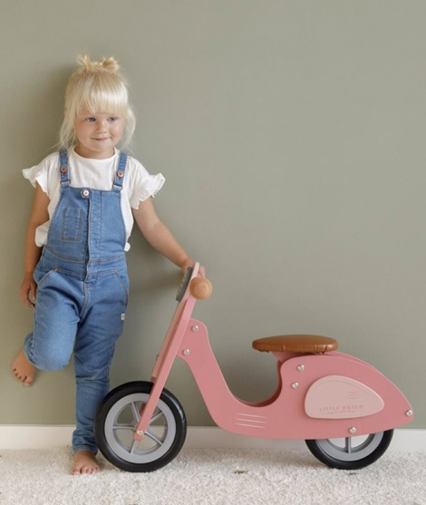 Scuter din lemn, Little Dutch, scaun reglabil, roz mat