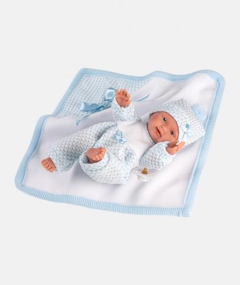 Papusa Llorens, Bebito cu paturica albastra, 26 cm