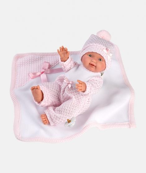Papusa Llorens, Bebita cu paturica roz, 26 cm