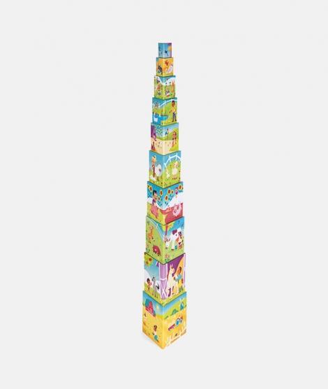 Piramida de stivuire, Janod, viata la ferma, 10 piese - ElcoKids
