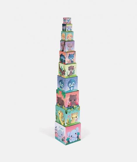 Piramida de stivuire, Janod, animalute draguțe, 10 piese - ElcoKids