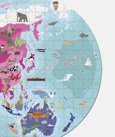 Puzzle cu doua fete, Janod, lumea terestra si acvatica, 208 piese, 6 ani+