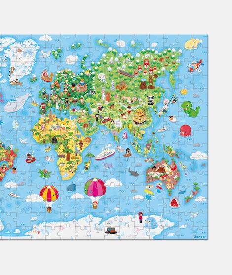 Puzzle gigant, Janod, lumea, 300 Piese, 7 ani+
