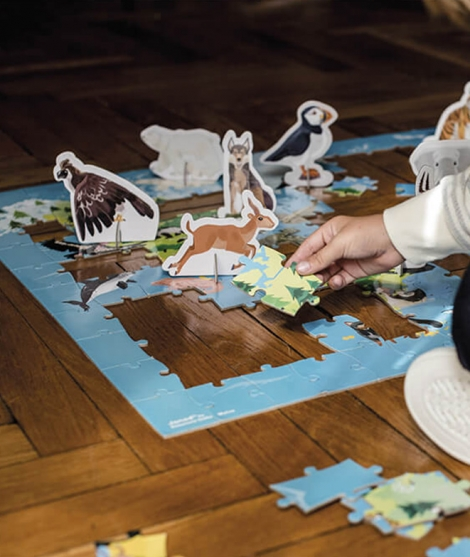 Puzzle educativ 3D, Janod, animale pe cale de disparitie, 50 figurine, 200 piese