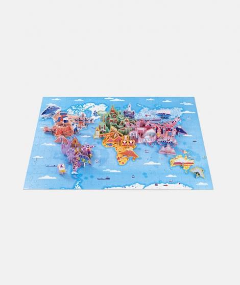 Puzzle educativ 3D, Janod, curiozitatile lumii, 50 figurine, 350 piese