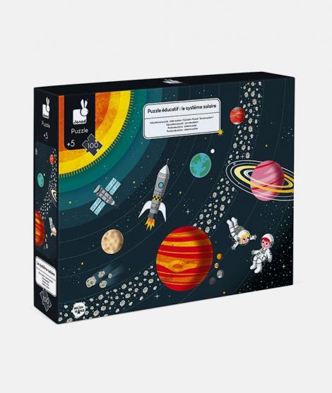 Puzzle educativ, Janod, sistemul solar, 100 piese, 5 ani+