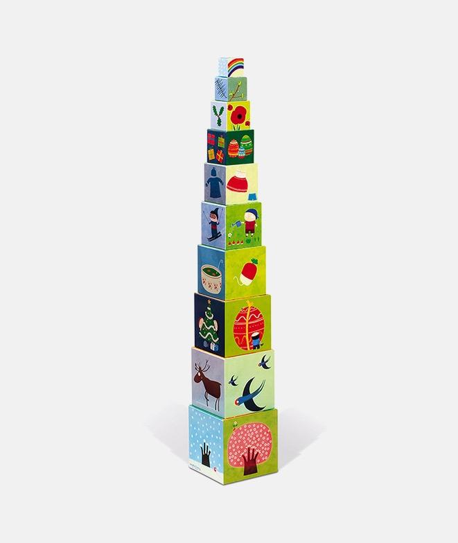 Piramidă de stivuire, Janod, 4 anotimpuri, 10 piese, 12 luni+ - ElcoKids