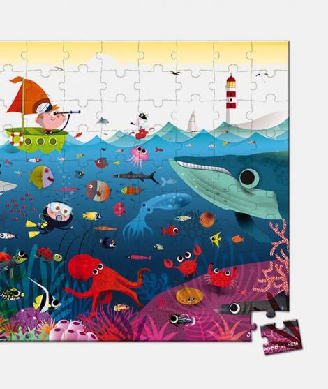 Puzzle lumea subacvatica, Janod, 100 piese, 6 ani+
