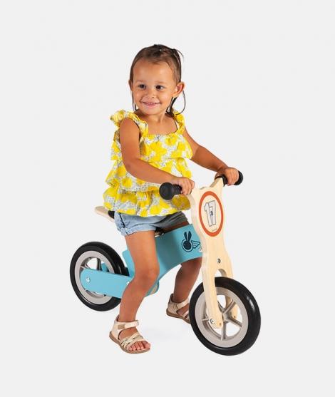 Bicicleta de echilibru, Janod, cu scaun reglabil, albastra, 2 ani+