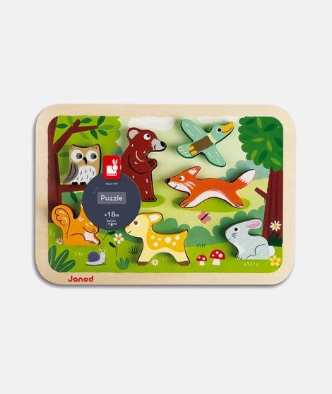 Puzzle din lemn 3D, Janod, cu animale din padure, 7 piese, 18  luni+