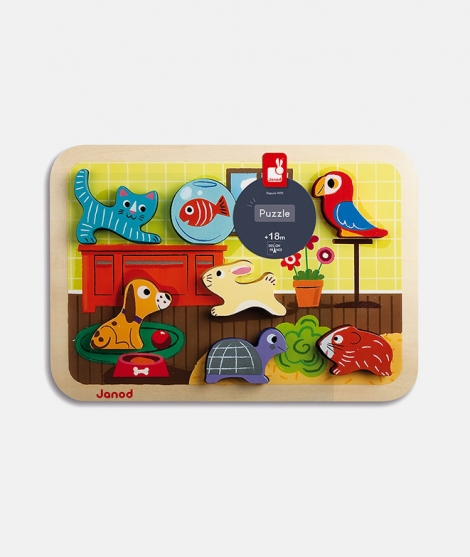 Puzzle din lemn 3D, Janod, cu animale, 7 piese, 18 luni+
