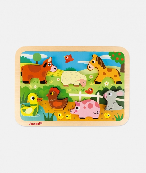 Puzzle din lemn 3D, Janod, cu animale de la ferma, 7 piese, 18 luni+