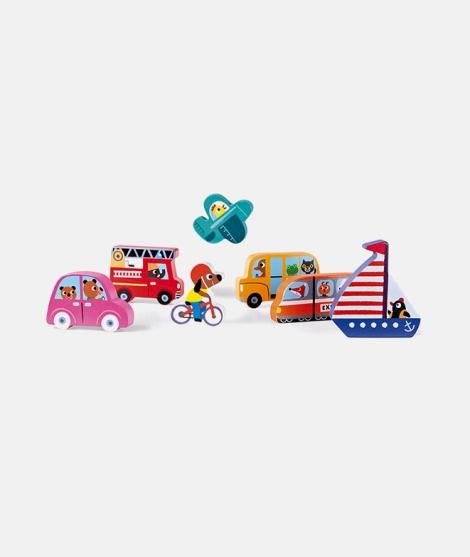 Puzzle din lemn 3D, Janod, cu vehicule, 7 piese, 18 luni+