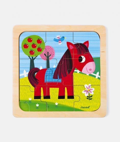 Puzzle din lemn, Janod, calut, 9 piese, 18 luni+