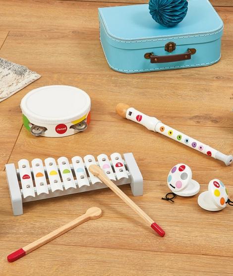 Set muzical, Janod, Confetti, 5 instrumente, din lemn, alb