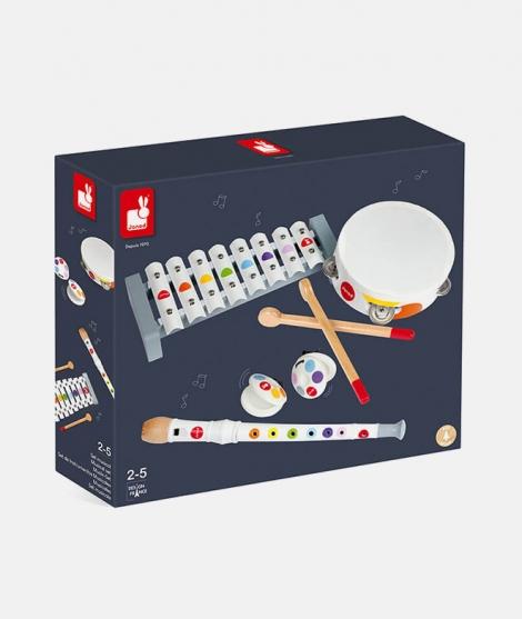 Set muzical, Janod, Confetti, 5 instrumente, din lemn, alb - ElcoKids