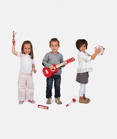 Set muzical, Janod, Confetti, 5 instrumente, din lemn, rosu