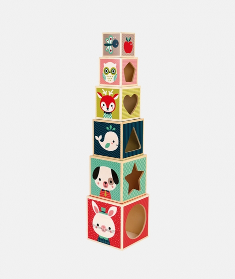 Set piramida, Janod, animalute salbatice, din lemn, 6 cuburi - ElcoKids