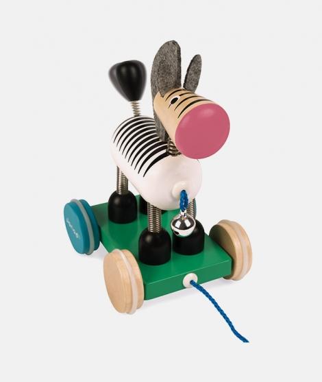 Jucarie de tras, Janod, zebra, cu clopotel, din lemn