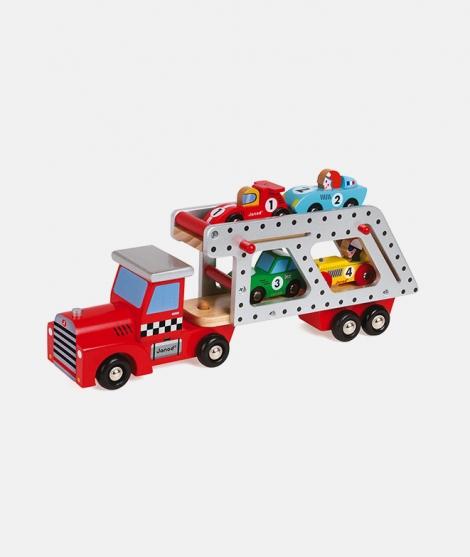 Camion transportor, Janod, din lemn, cu 4 masinute