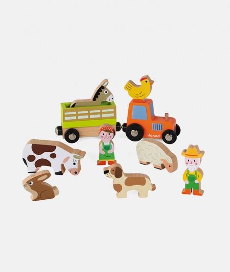 Set de joaca, Janod, Ferma, din lemn, 10 piese