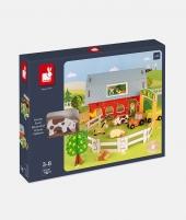 Set de joaca, Janod, Ferma cu animale, din lemn, 10 piese - ElcoKids