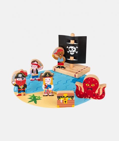 Set de joaca, Janod, pirati, din lemn, 7 piese