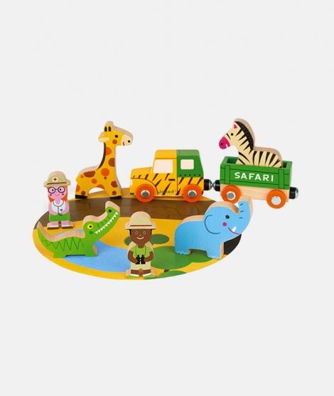 Set de joaca, Janod, safari, din lemn, 8 piese