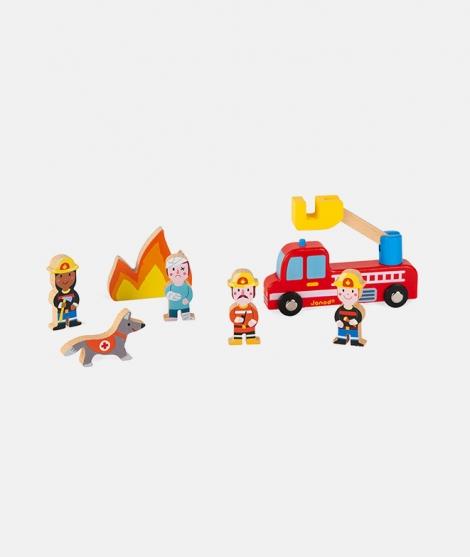 Set echipa de pompieri, Janod, din lemn, 7 piese