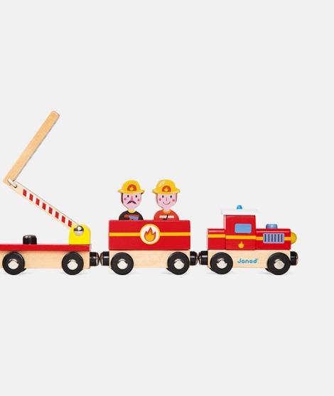 Trenulet din lemn, Janod, pompieri, 3 ani+