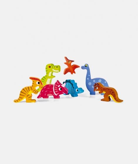 Puzzle din lemn 3D, Janod, cu dinozauri, 7 piese, 18 luni+
