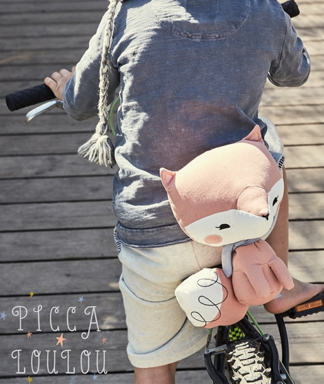Vulpe cu coada stufoasa, Picca Loulou, din bumbac, roz, 18 cm