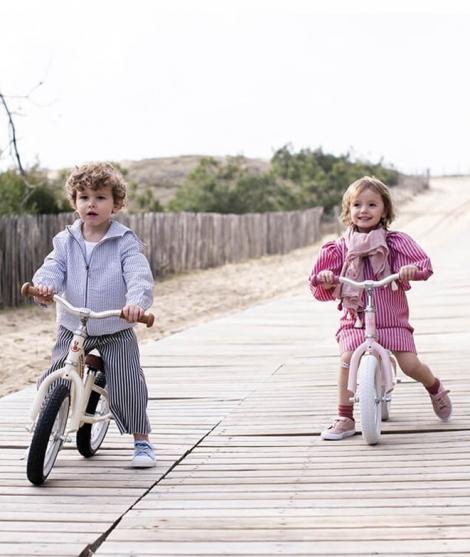 Bicicleta de echilibru, Janod, din metal, cu cosulet, roz, 3 ani+
